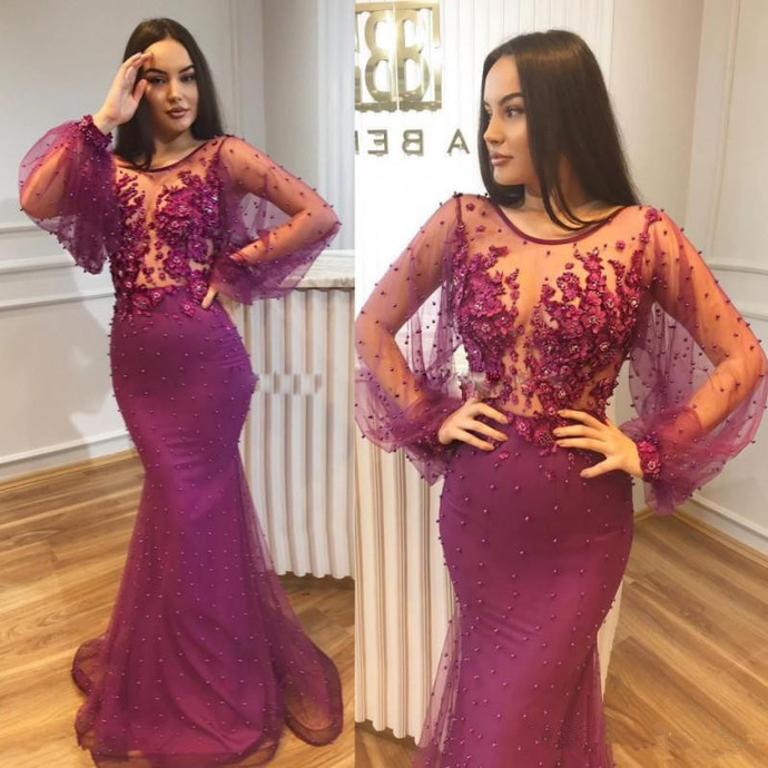 5b9638ca0dbf2 Sexy Mermaid Prom Dresses Illusion Neckline Long Sleeves 3D Applique Beaded