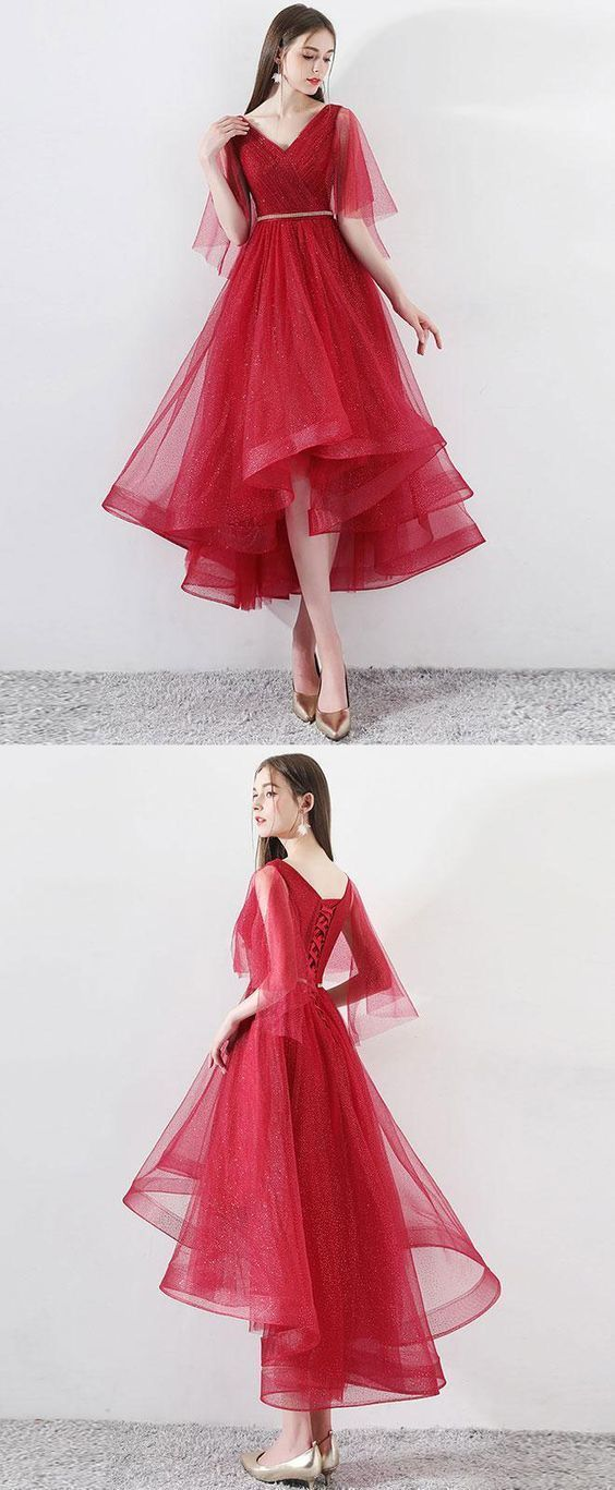 Sexy High Low Red Tulle Prom Dress,  Long Party Dress, Elegant Homecoming Dress