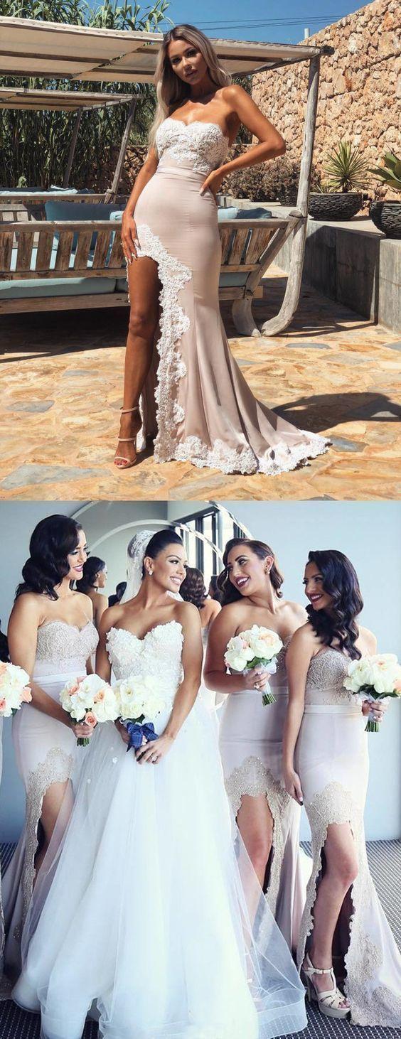 High Split Mermaid Bridesmaid Dress, Long Wedding Party Gown