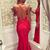 Red Trumpet Floor Length Spaghetti Sleeveless Backless Appliques Long Prom