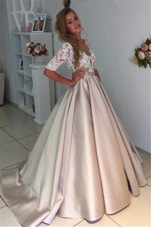 A Line Sweep Train Deep V Neck Half Sleeve Sheer Back Lace Long Prom Dress,Party