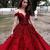 Red A Line Floor Length Off Shoulder Appliques Floral Long Prom Dress,Party