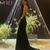 Golden Sheath Sweep Train Deep V Neck Sleeveless Backless Sparkle Long Prom