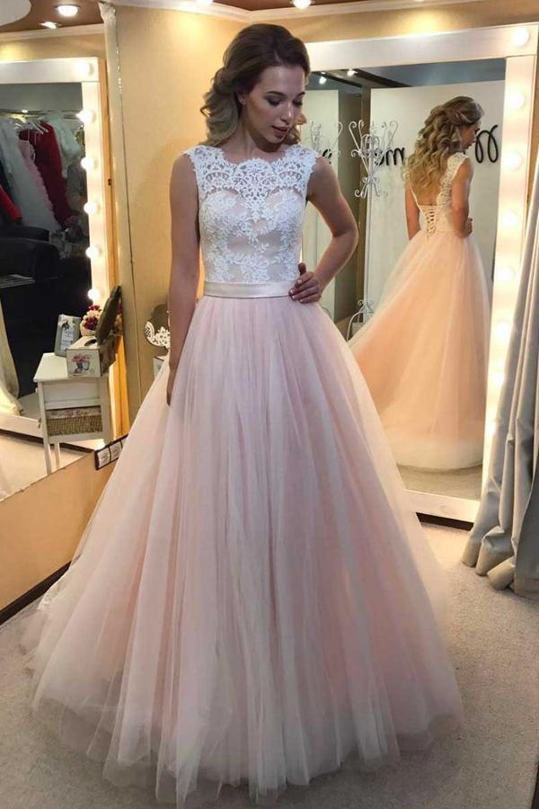 Pink A Line Sweep Train Sleeveless Mid Back Lace Up Appliques Long Prom