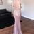 Pink Sheath Sweep Train Deep V Neck Sleeveless Backless Sparkle Long Prom