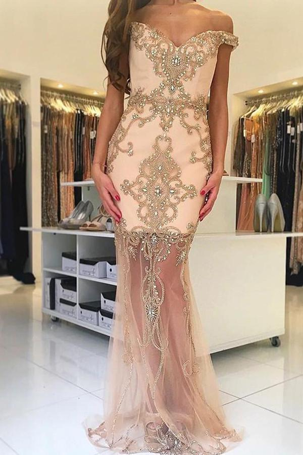 Trumpet Sweep Train Off Shoulder Beading Tulle Long Prom Dress,Party Dress
