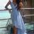 Blue A Line Asymmetrical Deep V Neck Sleeveless Cheap Prom Dress,Evening Dress