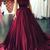 Burgundy Ball Gown Sweep Train Sweetheart Sleeveless Cheap Prom Dress,Evening