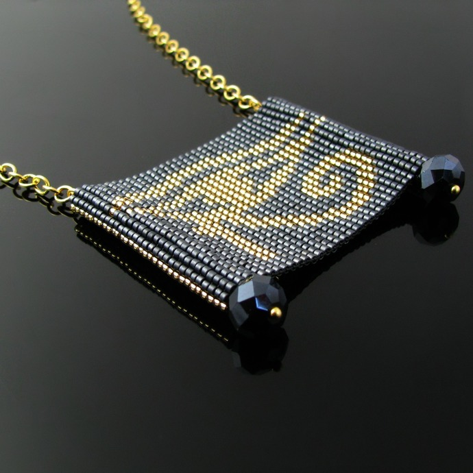 Bead loomed slider necklace Egyptian Eye of Horus in blue and gold