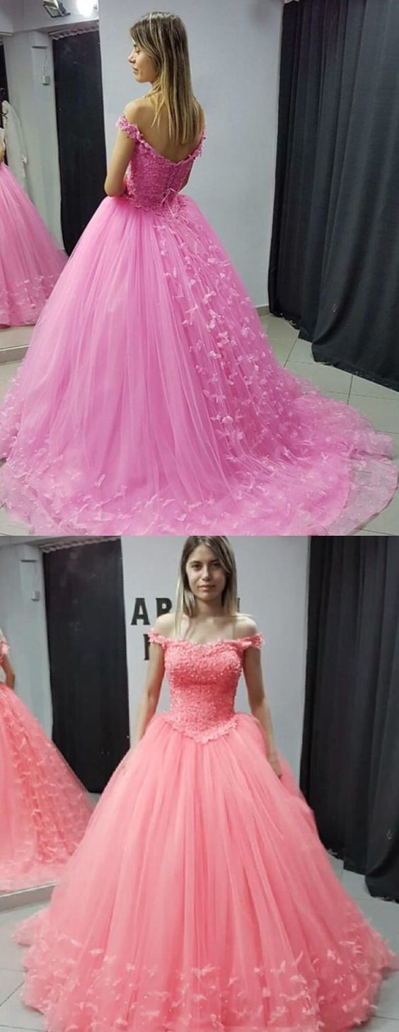 Charming Tulle Prom Dress, Elegant Appliques Ball Gown, Sweet 16 Dresses