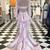 Pink Two Piece Trumpet Sweep Train Long Sleeve Keyhole Back Lace Prom
