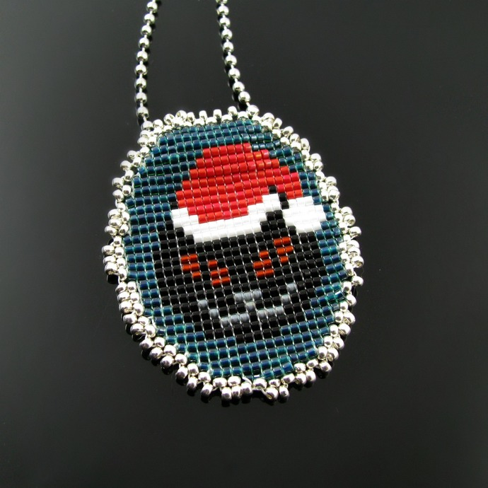 Bead loomed Christmas Cat Santa pendant