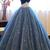 Navy Blue Ball Gown Sweetheart Sleeveless Lace Up Pearl Appliques Prom