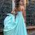 Blue A Line Floor Length Spaghetti Sleeveless Appliques Mid Back Prom