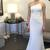 White Trumpet Sweep Train Strapless Sleeveless Mid Back Prom Dress,Wedding Dress