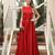 Red A Line Sweep Train Jewel Neck Sleeveless Simple Prom Dress,Party Dress