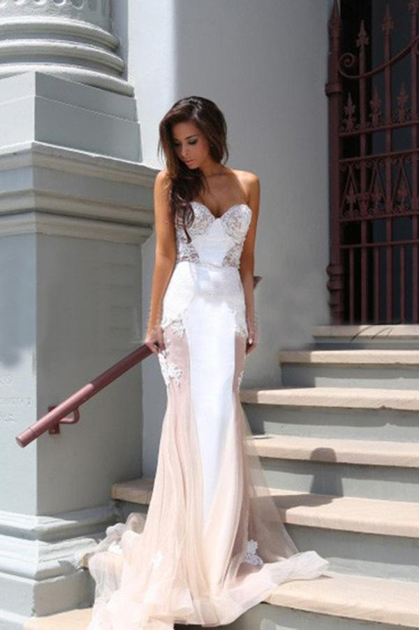 Trumpet Sweetheart Sleeveless Tulle Court Train Prom Dress,Party Dress