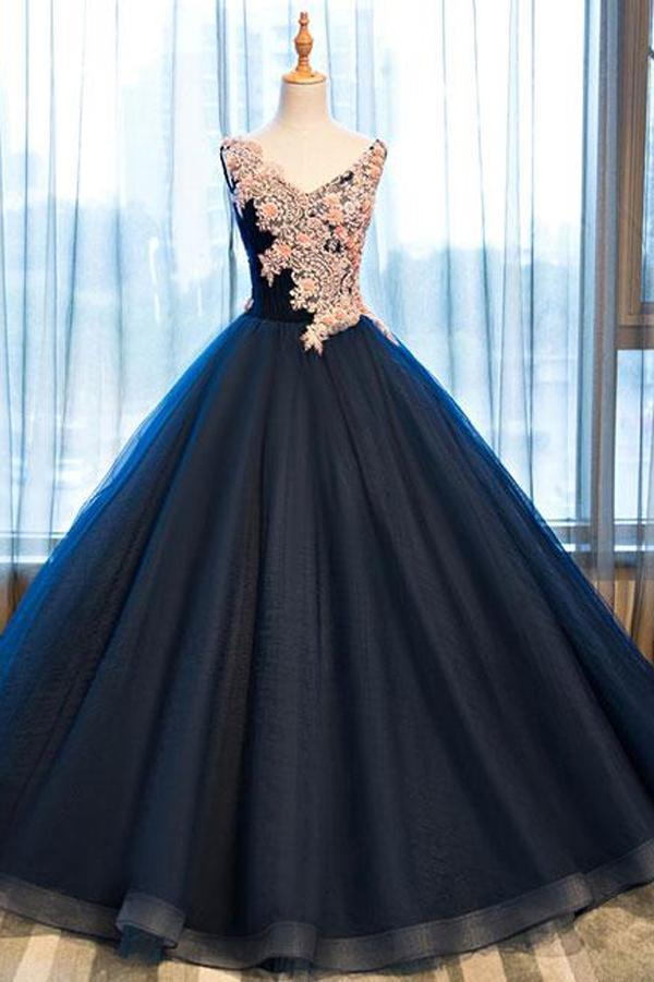 Navy Blue Ball Gown Floor Length V Neck Sleeveless Lace Up Floral Prom