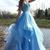 Blue A Line Floor Length Sweetheart Sleeveless Beading Ruffles Prom Dress,Party