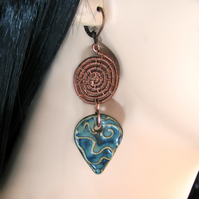 Wire woven spiral earrings with ceramic drops