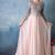 Pink A Line Sweep Train Jewel Neck 3/4 Sleeve Appliques Cheap Prom Dress,Evening