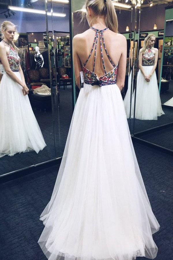 White A Line Brush Train Halter Sleeveless Layers Tulle Embroidery Prom