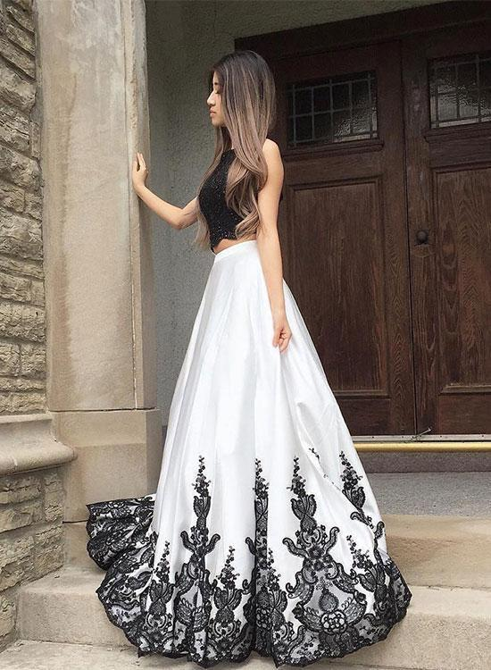 Petite Lace Prom Dress,Black And White Two Pieces Evening Dress A-Line Prom
