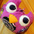 Fun Owl Plushie pillow in lilac, black, pink and blue plush
