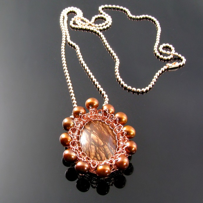 Wire knit pendant with Biggs jasper and brown freshwater pearls