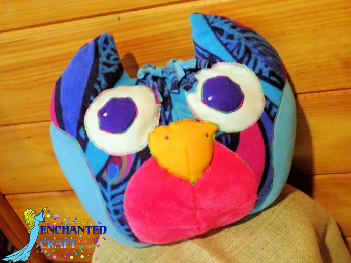 Fun Owl Plushie pillow in purple, blue, pink, aqua, peacock plush
