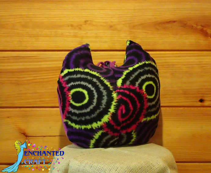 Fun Owl Plushie pillow in tie dye style purple, blue, pink, aqua, black, yellow