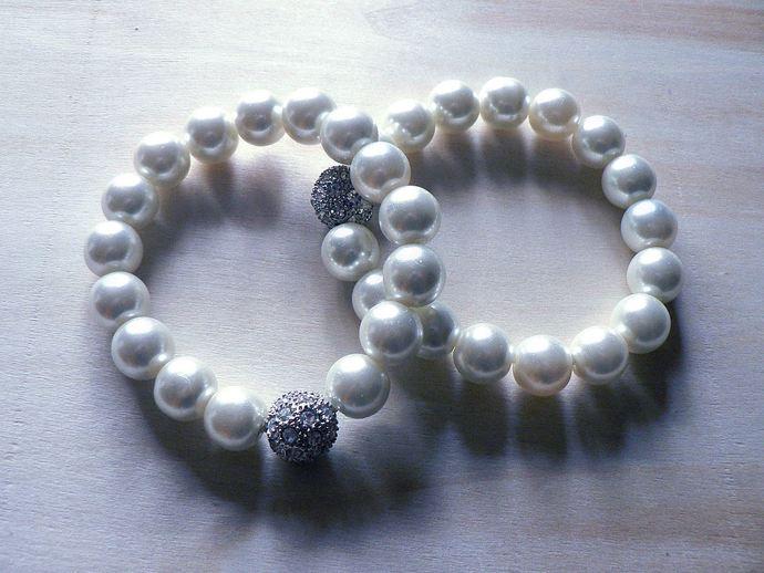 Pearl and Rhinestone Stacking Bracelets