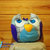 Fun Owl Plushie pillow in grey, aqua, black, purple and blue plush