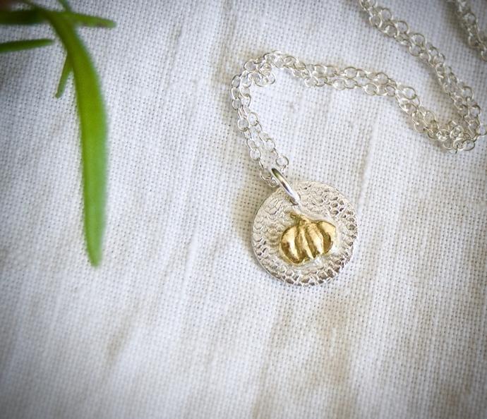 gold pumpkin necklace, mini silver pendant, bridesmaid gift, mixed metal, tiny