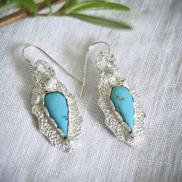 Kingman turquoise earrings, Robin's egg blue earrings, Southwest earrings,