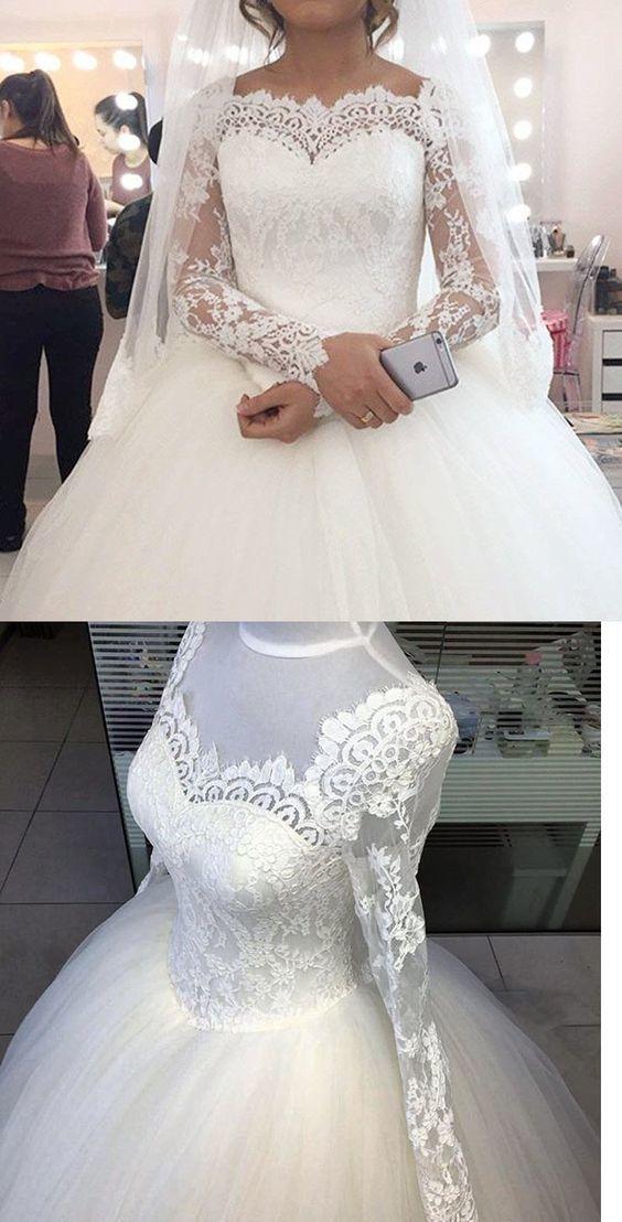 Long Sleeve Tulle Ball Gown Wedding Dress, Elegant Lace White Bridal Dresses
