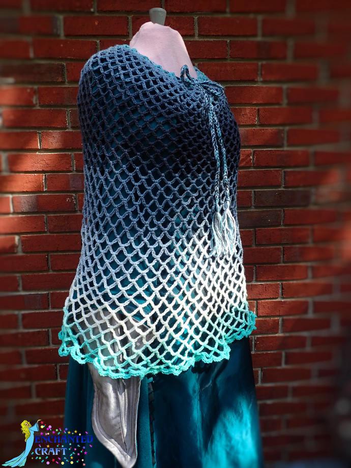 Fabulous ombre' ocean blues crochet poncho, fun, handmade, teal, turquoise, grey