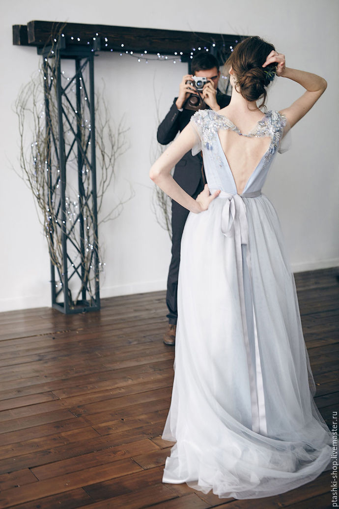 Lovely A-Line Prom Dresses V-Neck Tulle evening dress beading formal gowns cheap