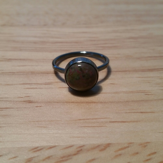Oxidized sterling silver and fancy jasper ring