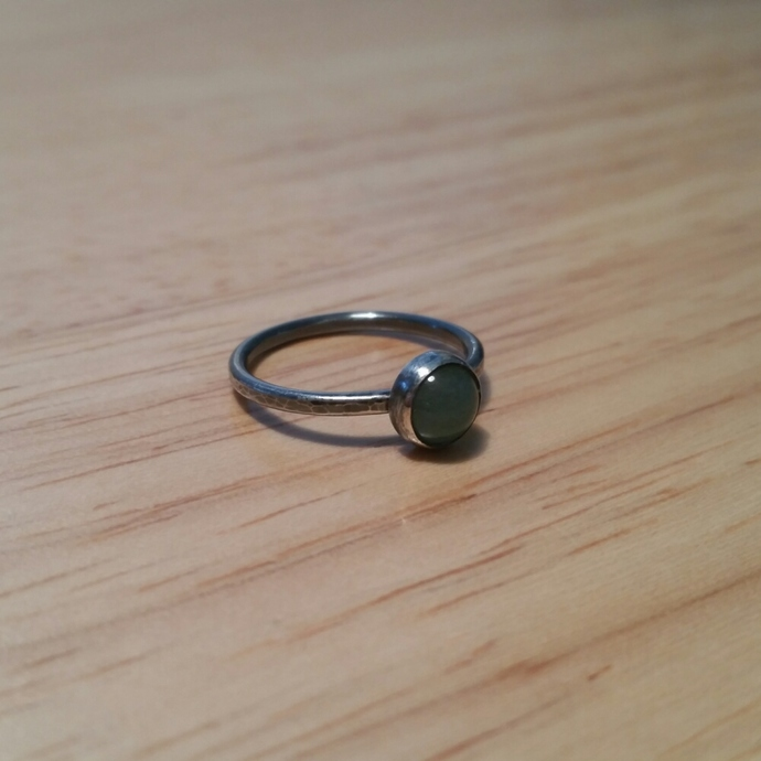 Oxidized sterling silver and aventurine ring