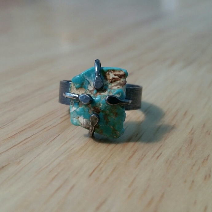Oxidized sterling silver and rough turquoise adjustable ring