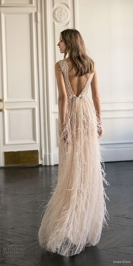 Sexy V-neck See-through Tulle Prom Dresses Beading Evening Dress with Feather