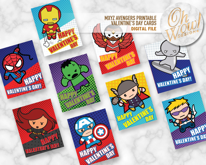 MXYZ Avengers Printable Double Sided Valentine's Day Cards: Digital File