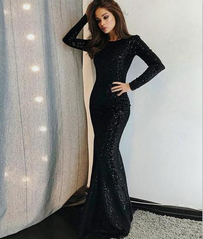 c2cd2bfd8d02 Unique 2018 Prom Dress Long Sleeve Black Sequined Evening Dresses Hot Cheap