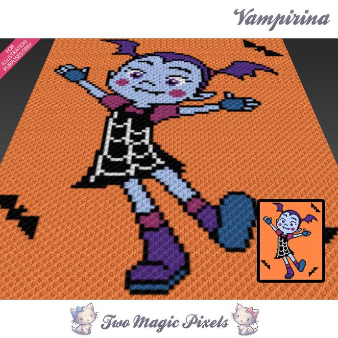Vampirina crochet blanket pattern; c2c, cross stitch graph; pdf download; no