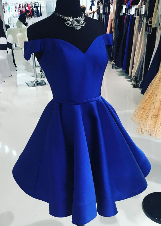11233dc5ea268 Royal Blue Off the Shoulder Short Homecoming Dresses Homecoming Dresses