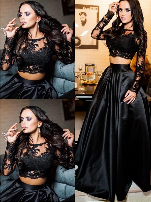 Excellent Satin Scoop Neckline Long Sleeves Two-piece A-line Evening Dress Of