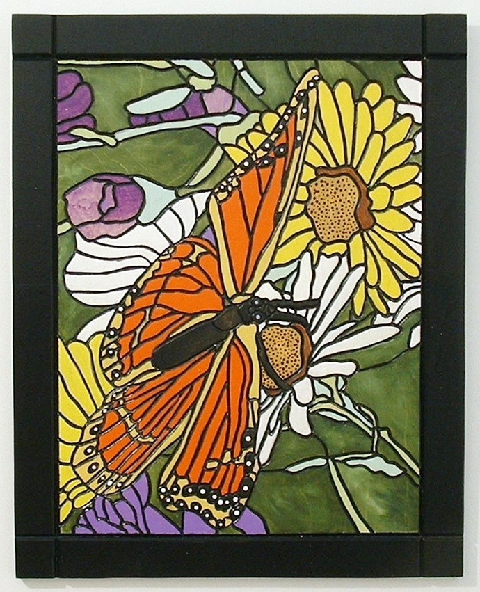 Wall Hanging Butterfly, Intarsia, Hand Painted, Wall Art, Floral Home Decor