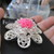 Large Diamante Layered Flower Brooch - NEW