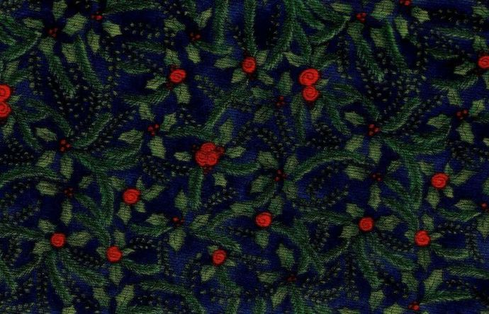 Remnant  Cotton Quilt Fabric K.P. Kids Christmas Floral Navy Blue Multi